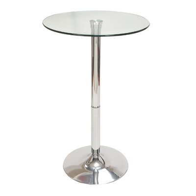 Chrome Glass Top Pub Table