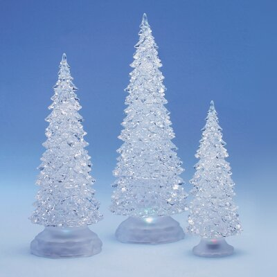 Roman, Inc. 3 Piece Frosty Shimmer Christmas Tree Figurines