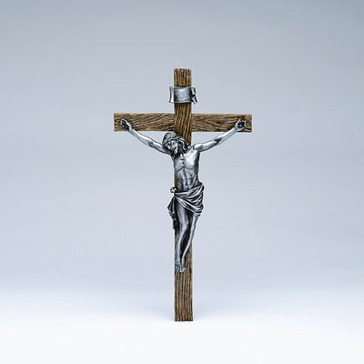 "Roman, Inc. 20"" Crucifix in Antique Silver"