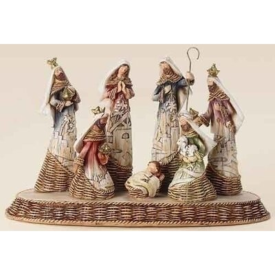 Roman, Inc. 8 Piece Nativity Basket Weave Set