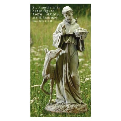 "Roman, Inc. 25.5"" St. Francis with Horse Figurine"