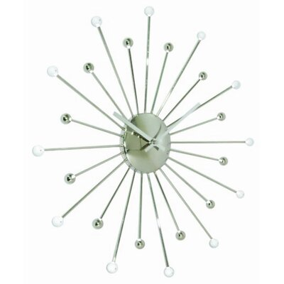 Ashton Sutton Starburst Wall Clock in Shiny Silvertone