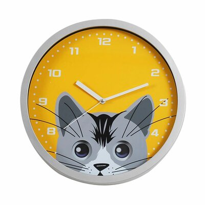 Ashton Sutton Cat Eye Pendulum Wall Clock in Silver Resin