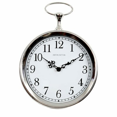 Ashton Sutton Pocket Watch Wall Clock in Bright Silvertone