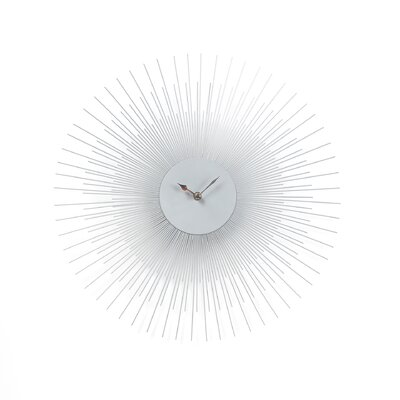 Silver Sunburst Wall Clock