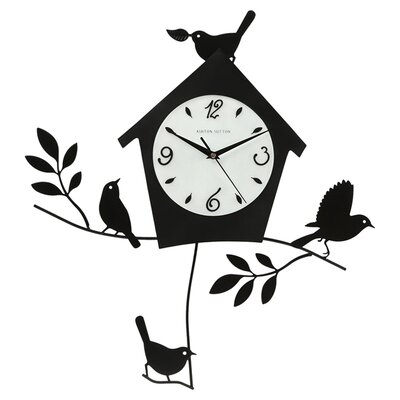 Ashton Sutton Birds and Bird House Wall Clock with Pendulum in Black Matte
