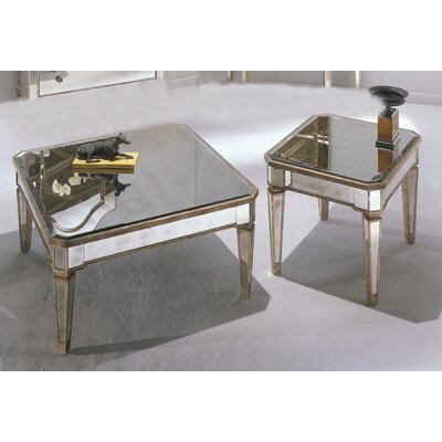 Borghese coffee table set wayfair for Wayfair mirrored coffee table