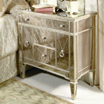 Borghese Mirrored 3 Drawer Chairside Chest