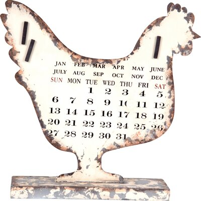 Wilco Rooster Metal Calendar Decor