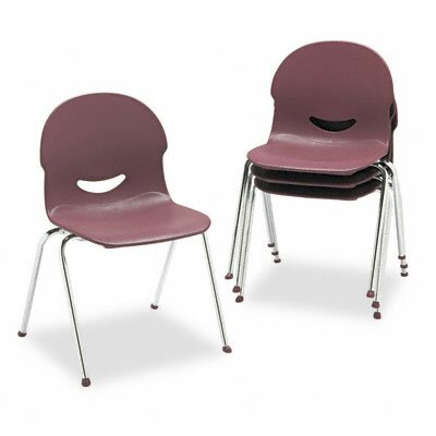 Virco IQ Plastic Stack Chair, Wine, Chrome Frame, Four/Carton