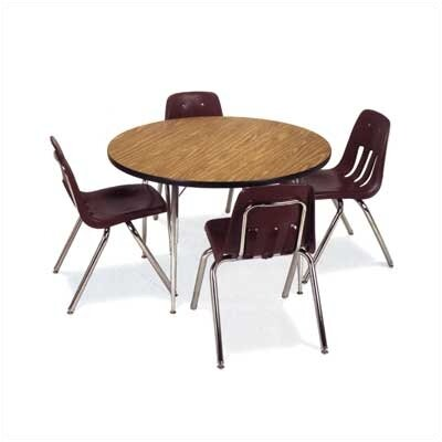 "Virco 4000 Series 48"" Round Activity Table with Fully Chrome Short Legs"