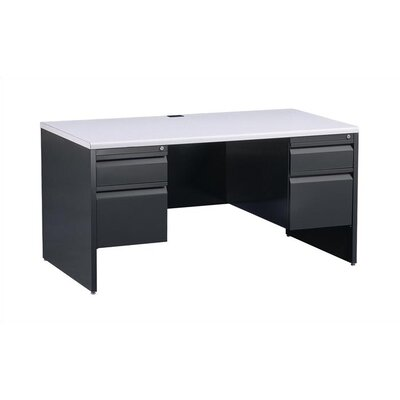 "Virco 60"" W Double Pedestal Office Computer Desk"