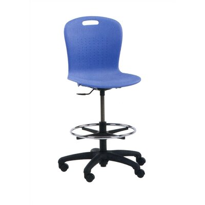Virco Height Adjustable Lab Stool with Backrest