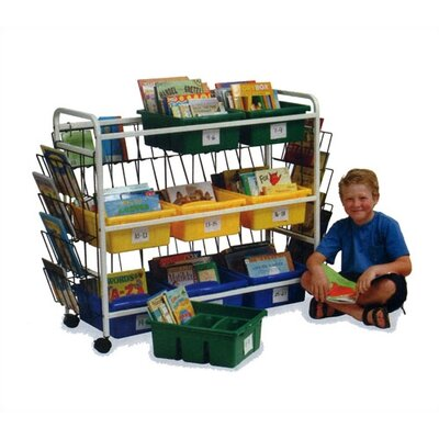 Virco Deluxe Library Book Browser Cart with Tubs and Display Racks