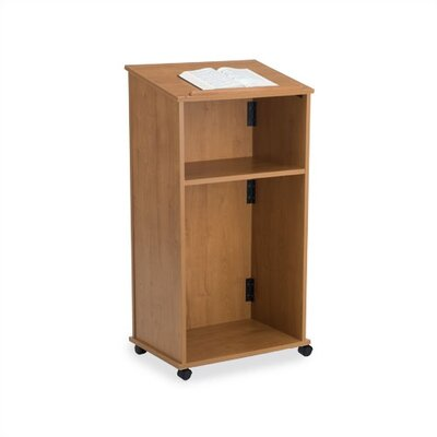 Virco Mobile Wood Lectern with Interior Shelf