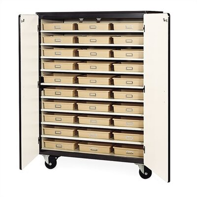 "Virco 66"" H Mobile Storage Cabinet with 30 Tote Trays"