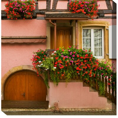 West of the Wind Outdoor Canvas Art Pink House and Flowers Outdoor Canvas Art