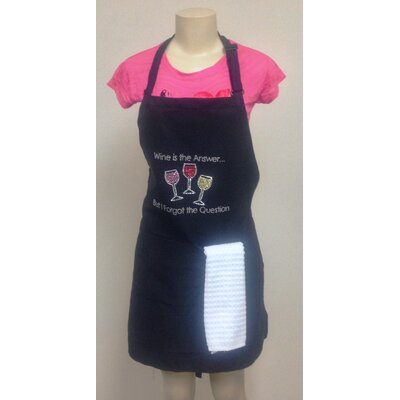 Wine Is The Answer Rhinestone Printed Apron