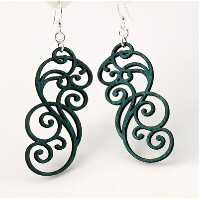 Green Tree Jewelry Filigree Scrolls Earrings