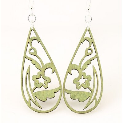 Green Tree Jewelry Floral Tear Drop Earrings
