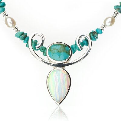 Anna Bloom Designs Sterling Silver Natural Turquoise, Freshwater Pearl Necklace