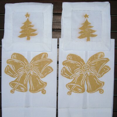 Lowcountry Linens Bells Guest Towel and Tree Cocktail Napkin Set