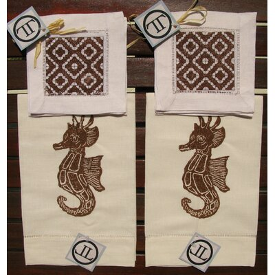 Lowcountry Linens Seahorse Guest Towel with Morocco Cocktail Napkin Set