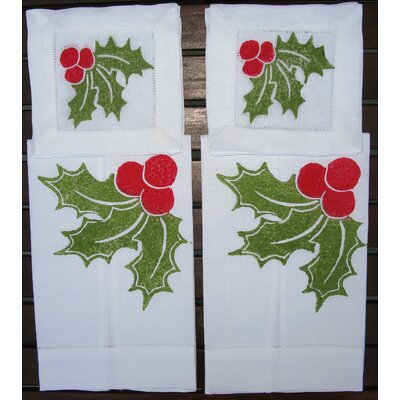 Lowcountry Linens Holly Guest Towel and Holly Cocktail Napkin Set