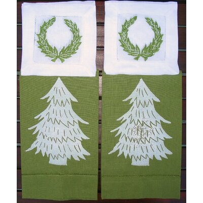 Lowcountry Linens Tree Guest Towel and Wreath Cocktail Napkin Set