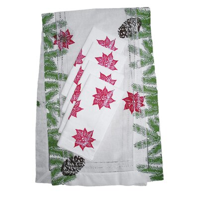 Lowcountry Linens Pine Garland Runner and Poinsettia Dinner Napkin Set