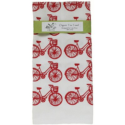Artgoodies Organic Bike All Over Pattern Block Print Tea Towel