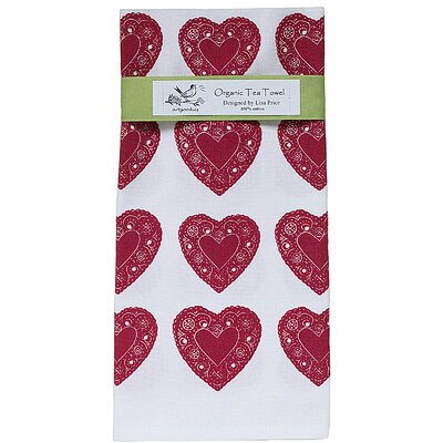 Artgoodies Organic Heart All Over Pattern Block Print Tea Towel