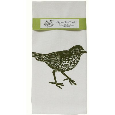 Organic Wood Thrush Block Print Tea Towel
