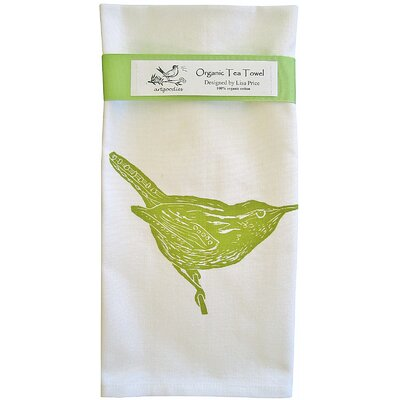 Artgoodies Organic Wren Block Print Tea Towel