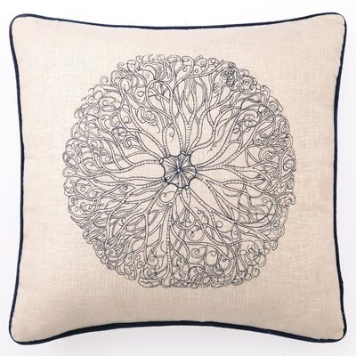 Anemone Down Filled Embroidered Linen Pillow