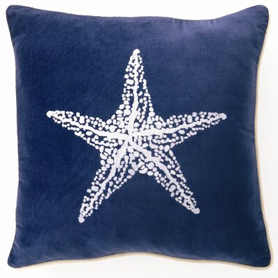 Starfish Down Filled Embroidered Velvet Pillow