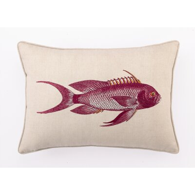 Snapper Down Filled Embroidered Linen Pillow