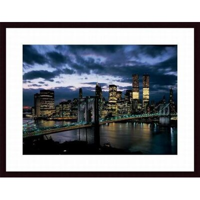 Brooklyn Bridge and Lower Manhattan Skyline at Dusk, 1973 Wood Framed Art Print