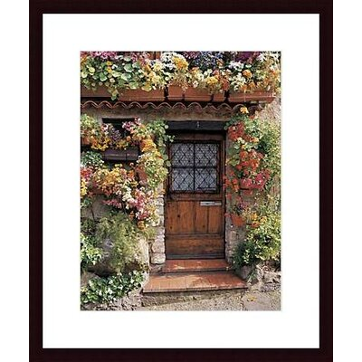 Flower Cottage Wood Framed Art Print