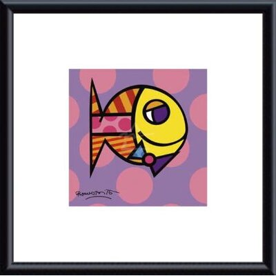 Britto Striped Fish Metal Framed Art Print