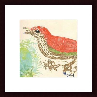 Barewalls Red Bird by Swan Papel Wood Framed Art Print