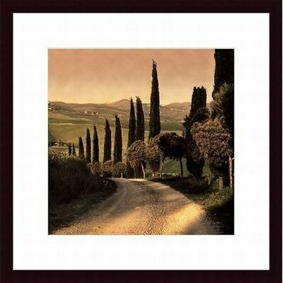Barewalls Country Lane Tuscany, Wood Framed Art Print