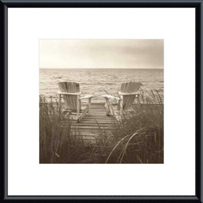 Barewalls Beach Chairs by Christine Triebert Metal Framed Art Print
