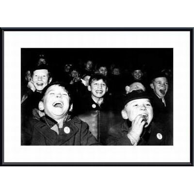 Barewalls Boys Laugh at Children's Movie Session by Paul Kaye Metal Framed Art Print