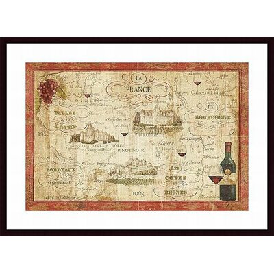 Wine Map Wood Framed Art Print