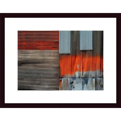 Corrugated Metal collage Wood Framed Art Print