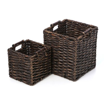 Patina Square Water Hyacinth 2 Piece Basket Set