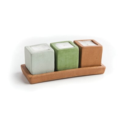 New Rustics Home 3 Square Candles and Terra Cotta Candleholder