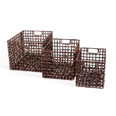 New Rustics Home Patina Water Hyacinth 3 Piece Storage Basket Set