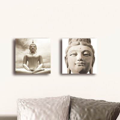 Deco Glass Buddha Wall Decor (Set of 2)